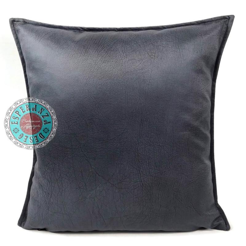Velvet kussen Metallic antraciet grijs (1012) ± 45x45cm