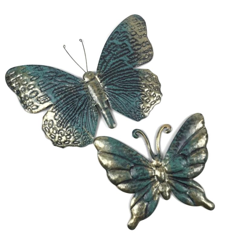 Set van twee metalen turquoise/petrol met bronzen vlinders