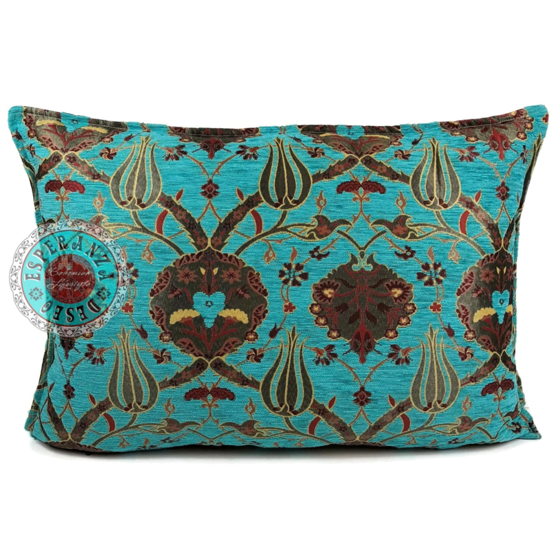 Turquoise kussenhoes - Flowers ± 50x70cm (afgelopen rits)