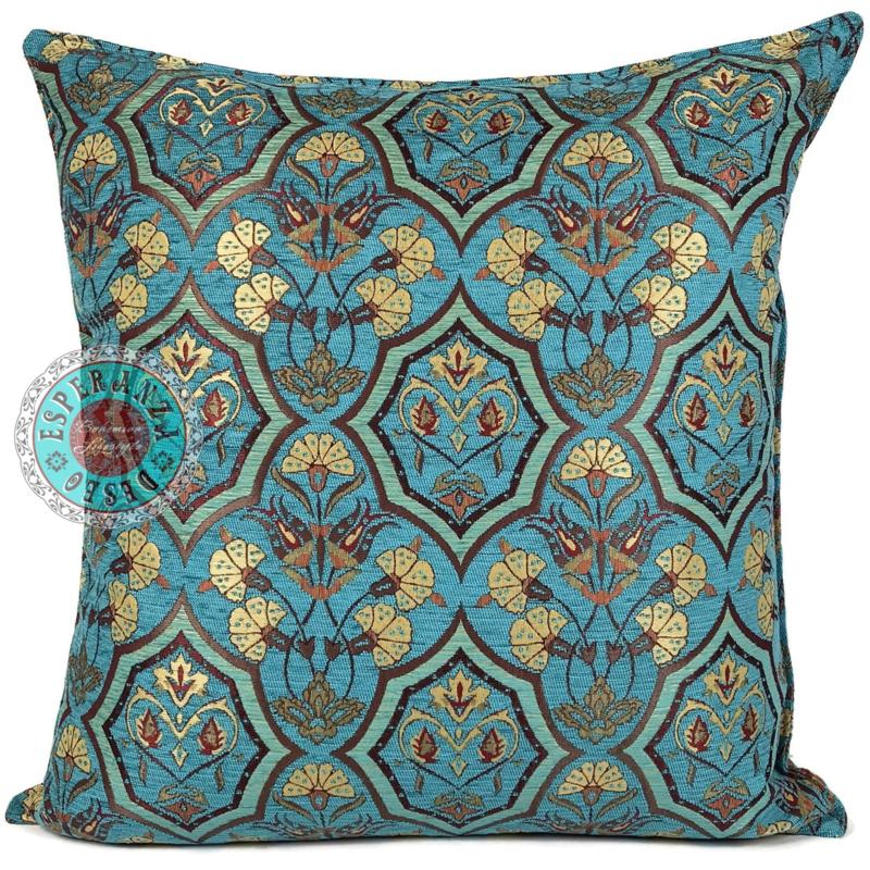 Turquoise kussen - Flowers mint en turquoise ± 70x70cm