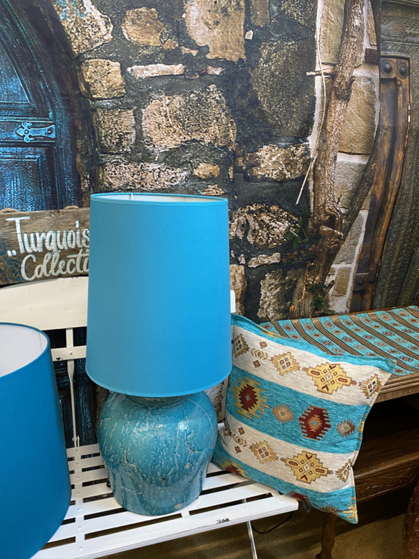 Grote lampenkap in Turquoise kleur 40cm hoog x 30cm dia
