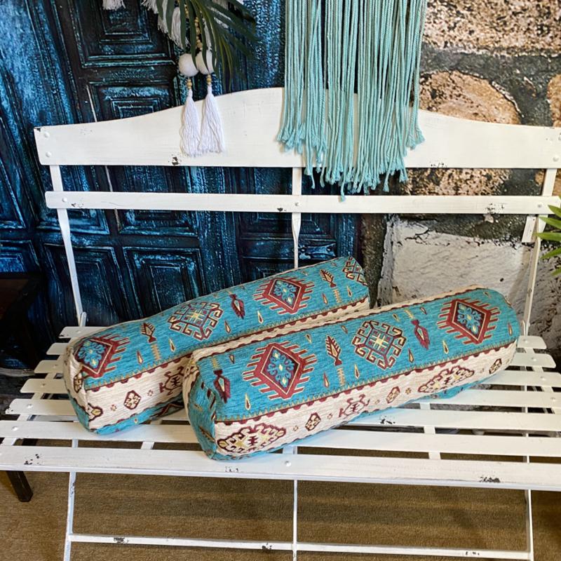 Rolkussen - Navajo turquoise plus binnenkussen ± 59cm dia 19cm