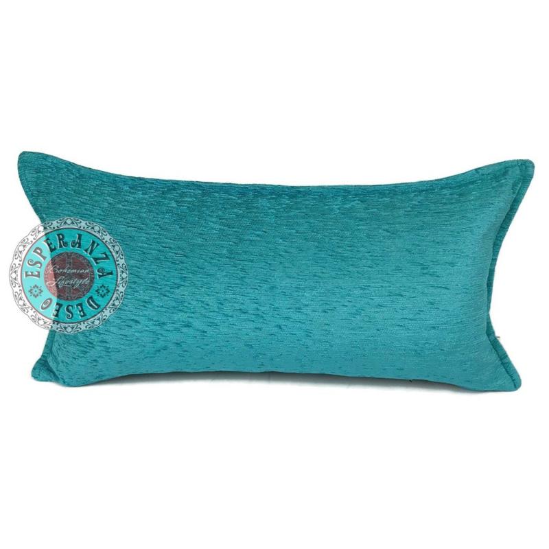Turquoise kussen ± 30x60cm
