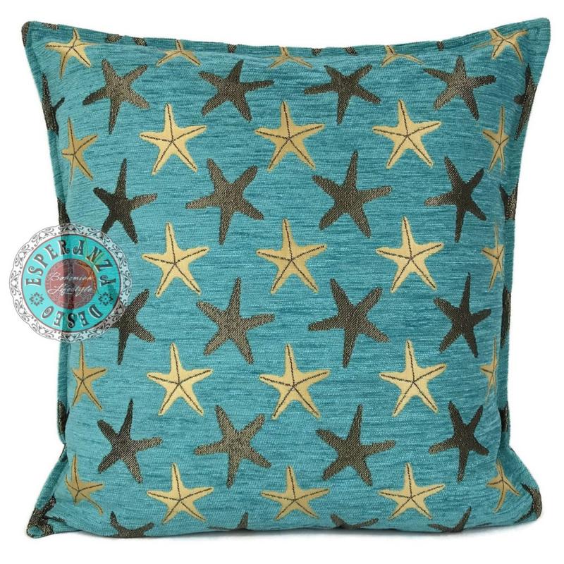 Turquoise kussen - Starfish (zeesterren) ± 45x45cm