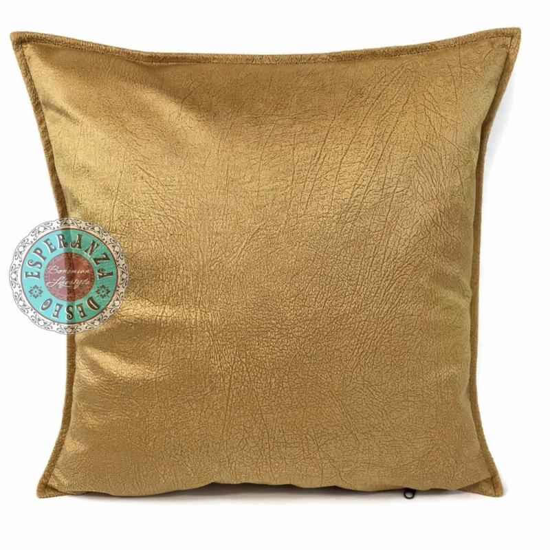Velvet kussen Oker goud (1008) ± 45x45cm
