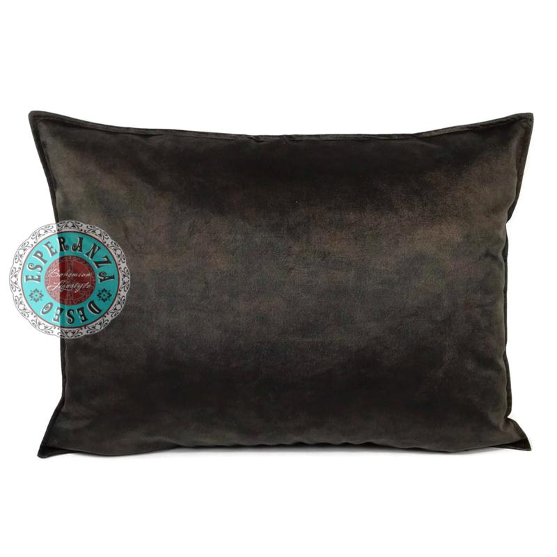 Velvet kussen donker bruin (13002) ± 50x70cm