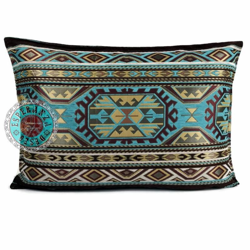 Turquoise kussen - Maya ± 50x70cm