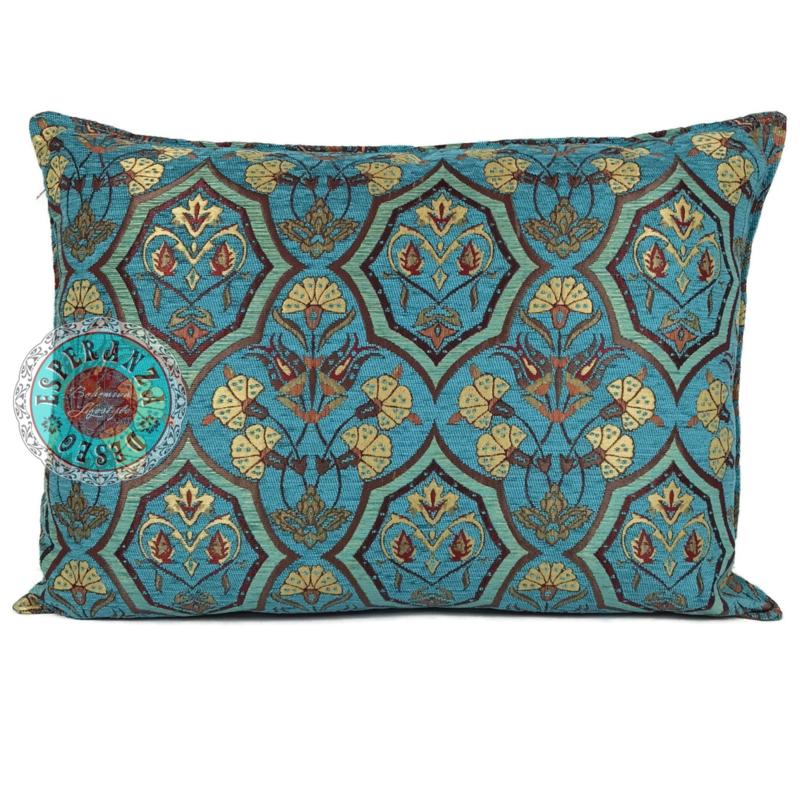 Turquoise kussen Flowers mint en turquoise ± 50x70cm
