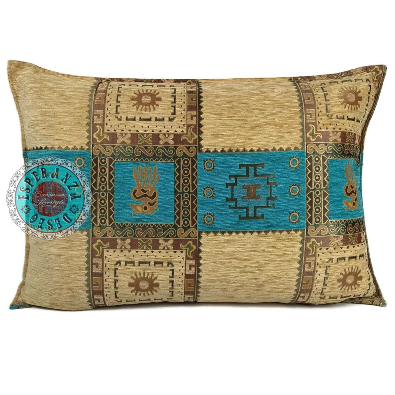 Turquoise kussen - Inca crème ± 50x70cm