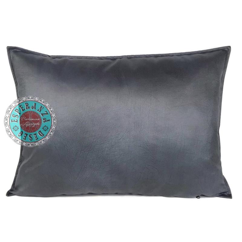 Velvet kussen Metallic antraciet grijs (1012) ± 50x70cm