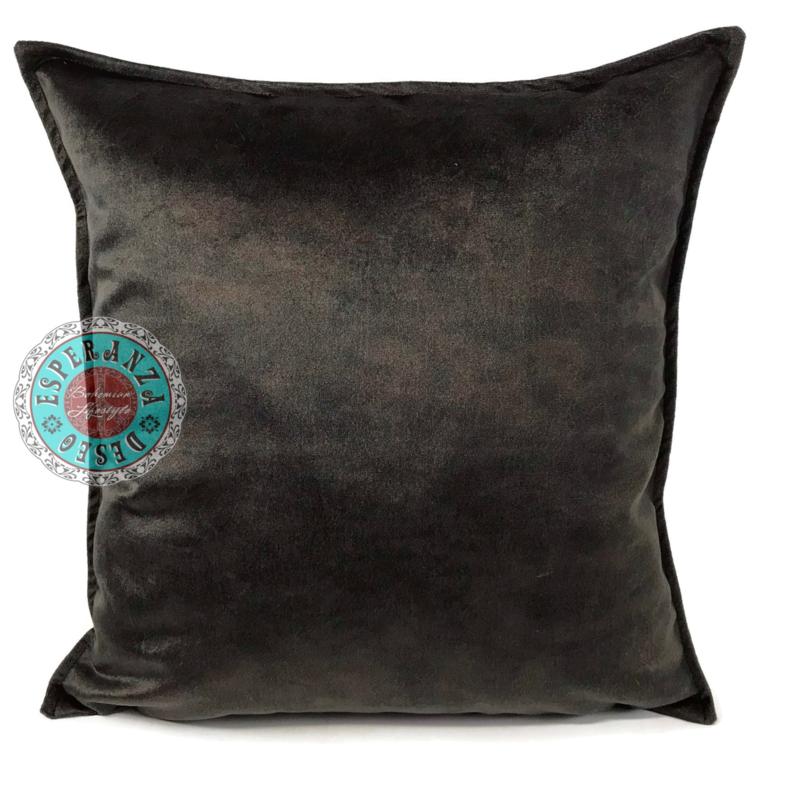 Velvet kussen donker bruin (13002) ± 45x45cm