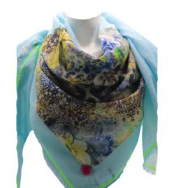 Driehoek sjaal turquoise