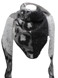 Driehoek sjaal zwart/ grijs