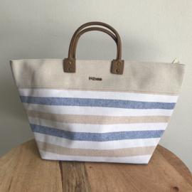 Kbas canvas tas blauw/beige streep