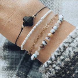 Mini Pearl Armband - RVS gold