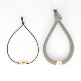 Bracelet set - Taupe - gold