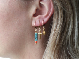 Earrings small - gemstone tubes Turquoise - silver/gold plated