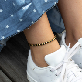 Beads Anklet - black/gold