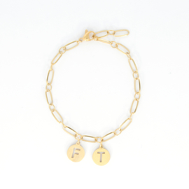 Initial Bracelet - RVS silver/ gold