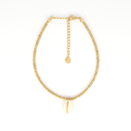 Mini Beads Anklet - Shell - gold