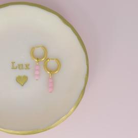Oorringen - gemstones Jade - RVS gold