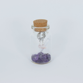 Jewelry in a Bottle - Earrings mini gemstone Rose Quartz - silver/gold plated