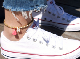 Beads Anklet - Gold with Tassel/ Shell