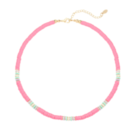 Summer Necklace - Rubber Beads - Pink