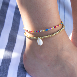 Beads Anklet - Shell - gold