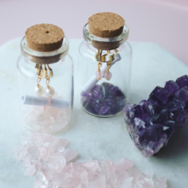 Jewelry in a Bottle - Earrings mini gemstone Rose Quartz - silver/gold plated