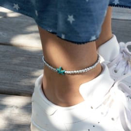 Beads Anklet - Star - silver