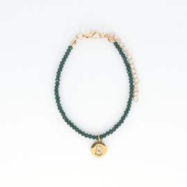 Crystal Bracelet - Initial - Green