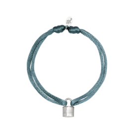 Armband - Lock Grey/blue - RVS silver