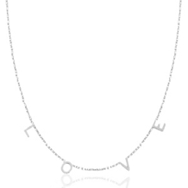 Necklace - LOVE - RVS silver