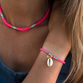 Summer Surf Necklace + Bracelet - Shell - Pink