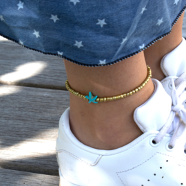 Beads Anklet - Star - gold