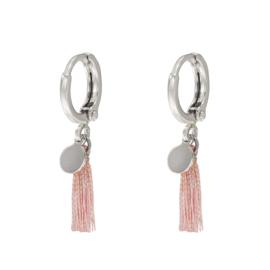 Earrings small - Coin with Tassel - silver/gold plated