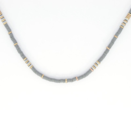 Necklace - Rubber Beads - Grey 2