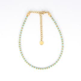 Mini Beads Anklet - gold/mint