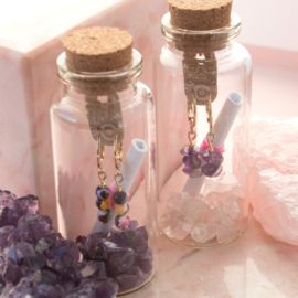 Jewelry in a Bottle - earrings Agaat - gold plated