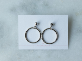 Ear studs - Ring - silver plated