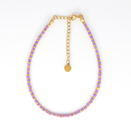 Mini Beads Anklet - gold/purple