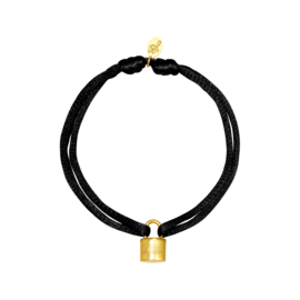 Armband - Lock Black - RVS gold