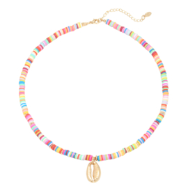 Summer Necklace - Rubber Beads - Multicolor Shell