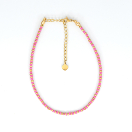 Mini Beads Anklet - gold/pink