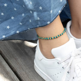 Beads Anklet - darkturquoise/gold
