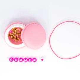 DIY - Set 4 Quote - Letter Armbandjes - Pink