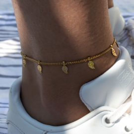 RVS Anklet - mini Feather - gold