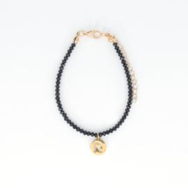 Crystal Bracelet - Initial - Black