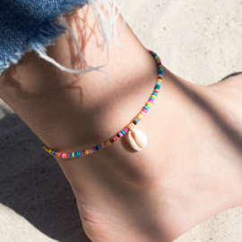 Mini Beads Anklet - Shell - multicolor